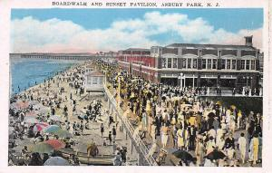 Boardwalk and Sunset Pavilion, Asbury Park, New Jersey, Early Postcard, Unused