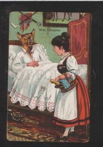 072242 Dressed WOLF in Bed & Young Lady Vintage PC