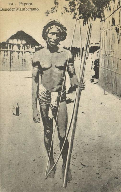 dutch new guinea, MAMBERAMO, Native Papua Warror with Bow and Arrow (1910s)