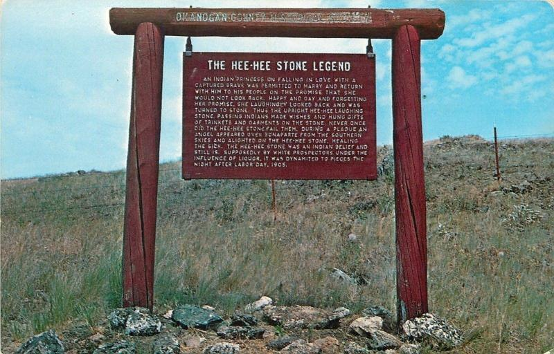 Oroville Washington~The Hee Hee Stone Legend Sign~1950s Postcard