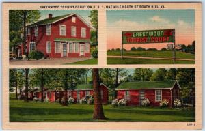 South Hill Virginia Postcard GREENWOOD TOURIST COURT Route 1 Roadside Linen 1948