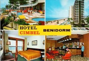 Hotel Cimbel Benidorm Spana Multiview UNUSED Vintage Postcard D94