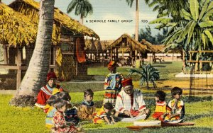 FL - Seminole Indians. A Family Group