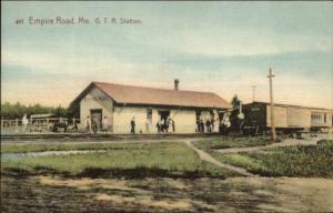 Empire Road Poland ME GTR RR Train Station Depot c1910 Postcard