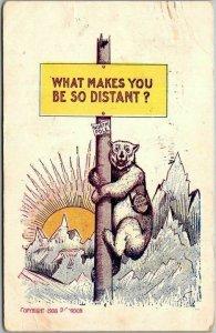 Vintage Artist-Signed P. GORDON Postcard Polar Bear / North Pole w/ 1908 Cancel