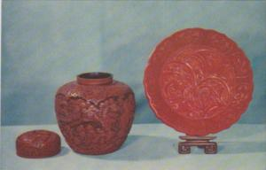 Lacquer Canister and Lacquer Plate From Peking China