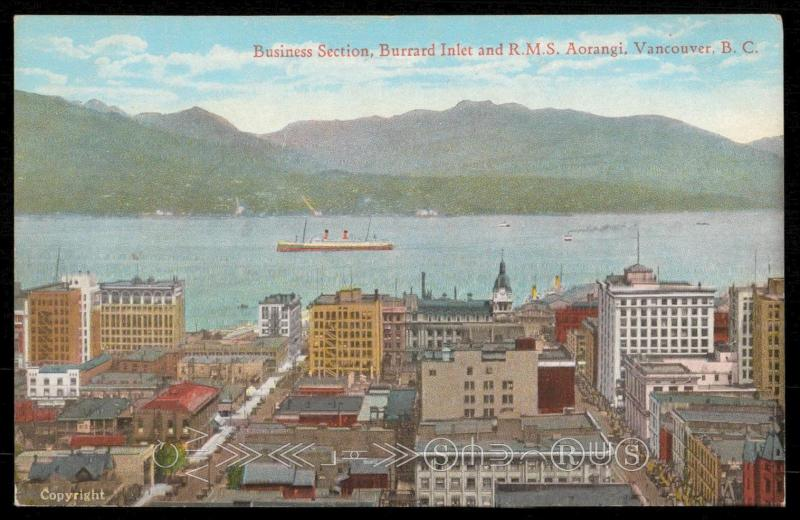 Business Section, Burrard Inlet and R.M.S. Aorangi