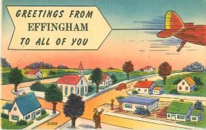Effingham IN Greetings from Effingham Comic Airplane w/ Banner Vintage Postcard