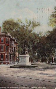 Longfellow Monument And State Street Portland Maine 1911