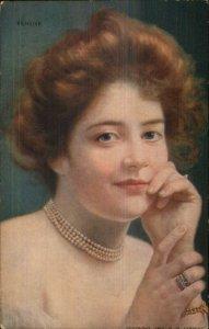 Beautiful Young Woman Flowers in Hair PENSIVE Warwick Bros #319 c1910