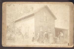REAL PHOTO MOUNTED PHOTOGRAPH SHELLSBURG IOWA MILLER RESIDENCE FAMILY 1890