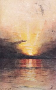 AS; Sunset over the ocean; PU-1905; TUCK Series 533