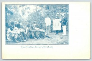 Freetown Sierra Leone W Africa~Street Preaching: White Missionary~Young Men~1908