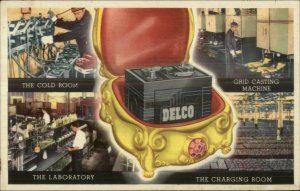 Delco Battery Automotive Car etc Vintage Advertising Postcard