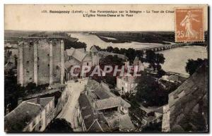 Old Postcard Beaugency Panoramic Sologne Tower Cesar L & # 39eglise Notre Dam...
