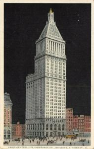 Cincinnati OH~Detroit Publishing~Night View of Union Central Life Insurance 1907