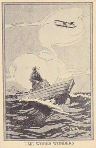 Fisherman looks up at biplane , Time Works Wonders , 00-10s