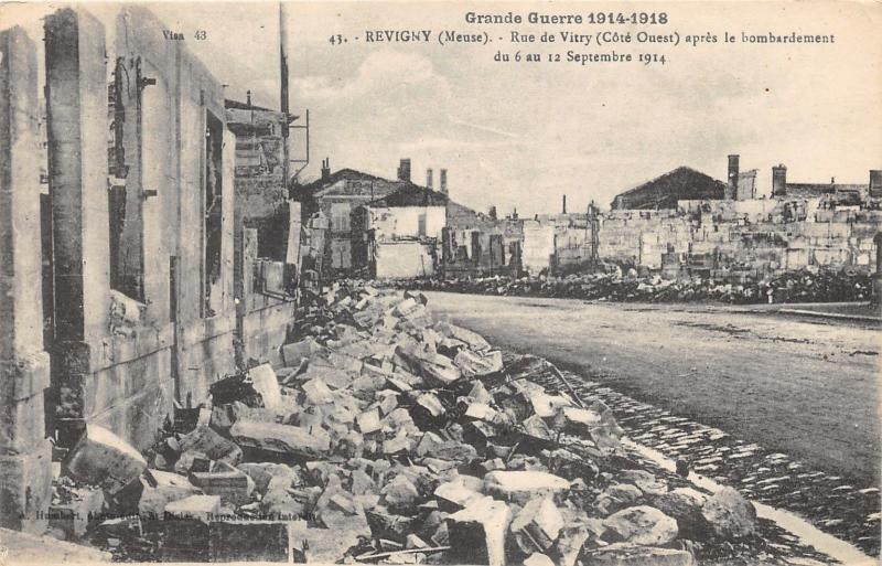 Revigny France~Rue de Vitry After Bombing September 1914~WWI Military Postcard