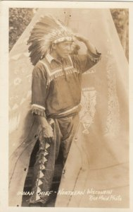 RP: Indian Chief - Northern Wisconsin , Ried Maid Photo , 1910-20s