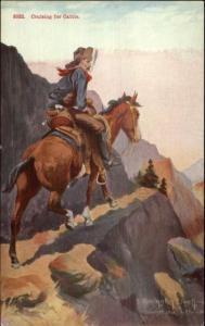 Cowboy Cruising For Cattle R. Farrington Elwell c1910 Postcard EXC COND