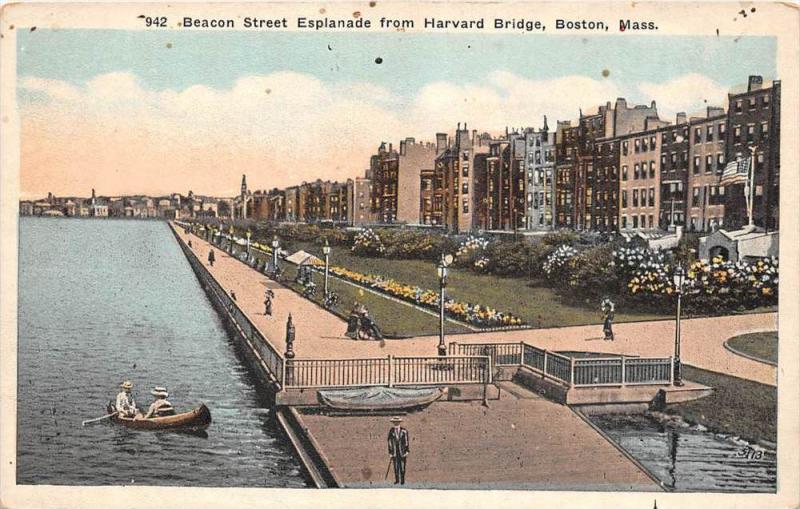massachusetts  Boston Beacon Street Esplanade from Harvard  Bridge