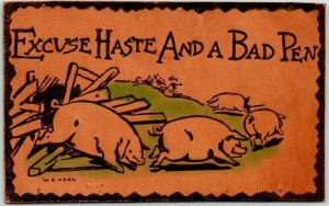 1910s LEATHER Comic Greetings Postcard Pigs Excuse Haste & A Bad Pen UNUSED