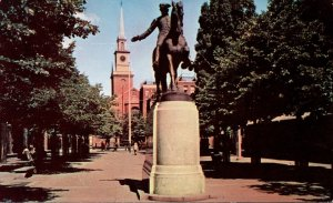 Massachusetts Boston Paul Revere Park Showing Old North Church & Paul Revere ...