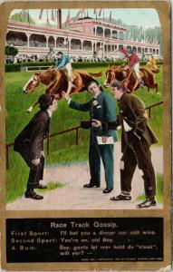 Race Track Gossip Horse Racing Eismann Theochrom Postcard E47