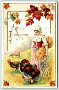 1911 Postcard Thanksgiving Turkey girl Picking Wheat Fall Leaves Embossed 02