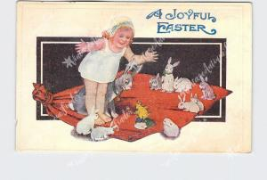 PPC POSTCARD JOYFUL EASTER GIRL WITH BUNNY RABBITS NEW HATCHED CHICK EMBOSSED