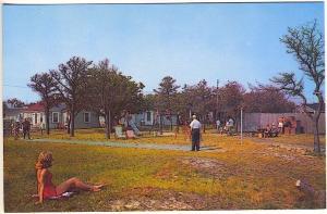 Hyannis MA Cape Cod Breakwaters Motel Cottages Shuffleboard Postcard