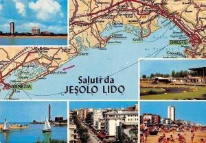 Italy Saluti da Jesolo Lido, Lighthouse Beach Plage Bateaux Map Panorama