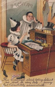 Stockbrokers On Telephone Clown Fancy Dress Comic Old Postcard