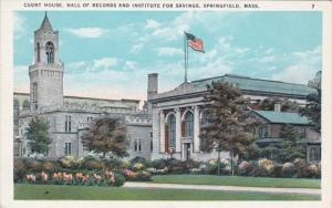 Massachusetts Springfield Court House Hall Of Records & Institute For Savings
