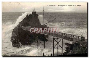 Old Postcard Biarritz rough sea the rock of the Virgin