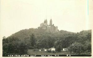 Holly Hill Wisconsin View NE 1945 RPPC Photo Postcard 4422