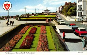 Vintage Kent Postcard, The Leas and Bandstand Folkestone, Classic Cars FH0
