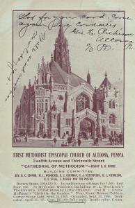 ALTOONA, Pennsylvania, PU-1909; First Methodist Episcopal Church Of Altoona, Adv