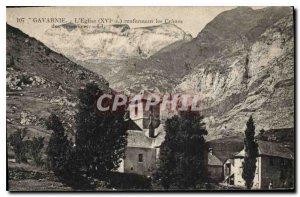 Old Postcard Gavarnie the church XVI containing the Granes Templar