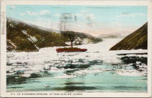 Steamer 'Spokane' Taku Glacier Alaska AK c1929 CP Johnston Postcard G73