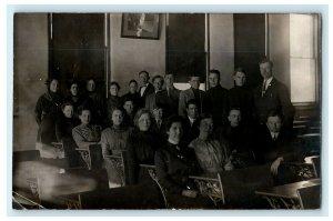 1912 College Class Morning Sun Iowa IA RPPC Photo Antique Postcard