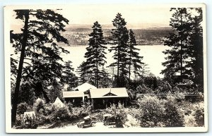 VTG Postcard Real Photo RPPC Vancouver Island Lake View Canada Car Cabin A5