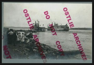 Clinton IOWA RPPC c1910 STEAMBOAT Steamers QUINCY Mississippi River HOUSEBOAT