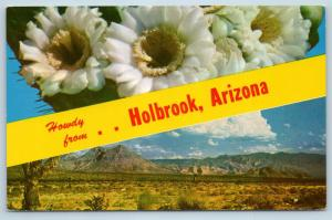 Postcard AZ Banner Dual View Greetings From Holbrook Vintage O08