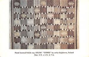 Poland Old Vintage Antique Post Card Hand Loomed Polish Rug Kilim Cones Unused