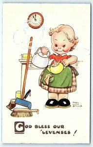 Postcard A/S Mabel Attwell Girl in Kitchen God Bless Our 'Levenses A2