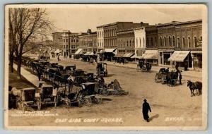 Bryan Ohio~East Side Square~Geiss Hardware~Peerless Furniture~Buggies~c1908 RPPC