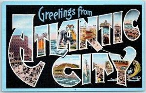1940s ATLANTIC CITY New Jersey Large Letter Postcard KROPP Linen #31471 Unused