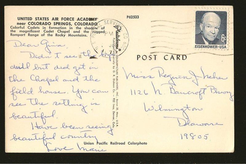 Postmark 1973 US Postal Service CO 800 Airforce Academy Colorado Springs UPRR