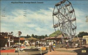 Wasaga Beach Ontario ON Playland Park Ferry Wheel Linen Postcard